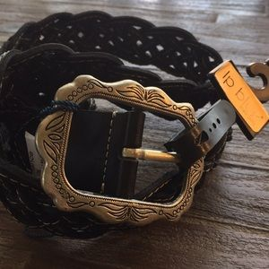 LP Blue Braided Leather Belt NWT